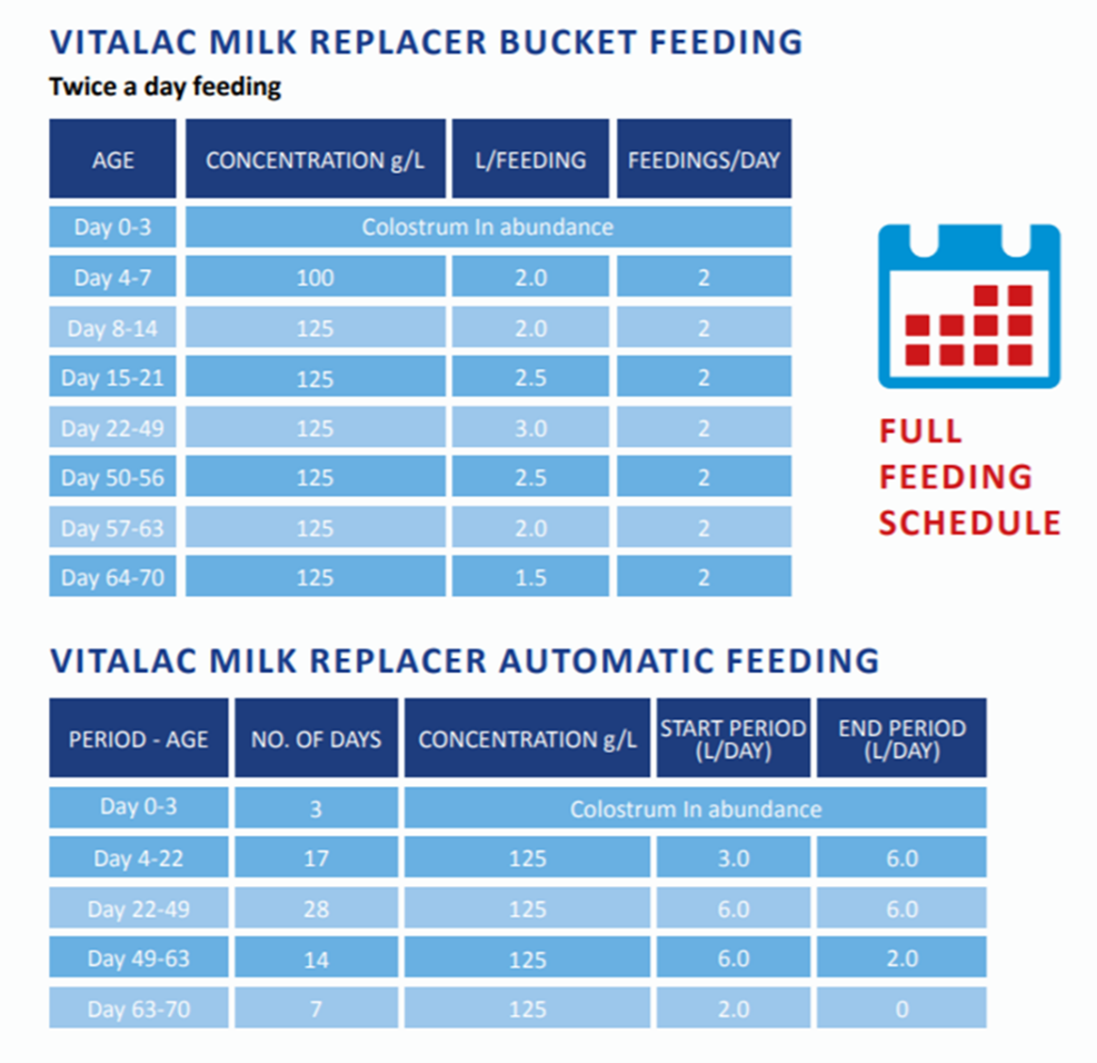 Vitalac Full Feeding Schedule