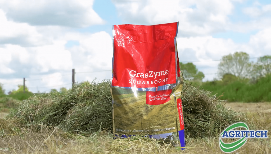 GrasZyme Sugarboost bag in a field of cut grass silage 2020